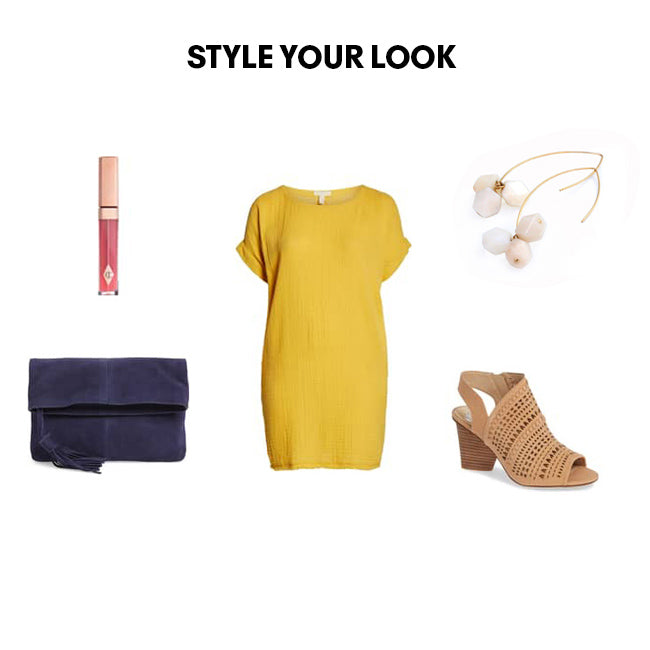 Woman Outfit Fashion Ensemble featuring ivory gemstone threader drop earrings, yellow dress, brown shoes and blue purse