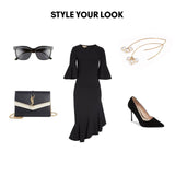 Woman Outfit Fashion Ensemble featuring ivory Swarovski pearl gold dangle threader earrings, black dress, shoes and purse