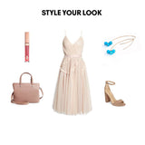 Woman Outfit Fashion Ensemble featuring turquoise gold threader drop earrings, neutral dress, brown shoes and nude purse