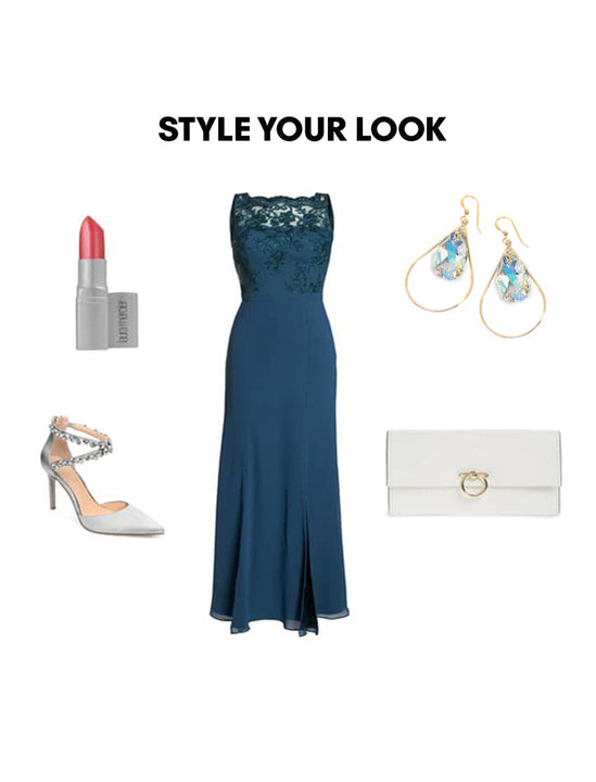 Woman Outfit Fashion Ensemble featuring silver gold dangle Swarovski Crystal earrings, teal dress, silver shoes and white purse