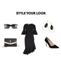 Woman Outfit Fashion Ensemble featuring black gold dangle Swarovski Crystal earrings, black dress, shoes and purse