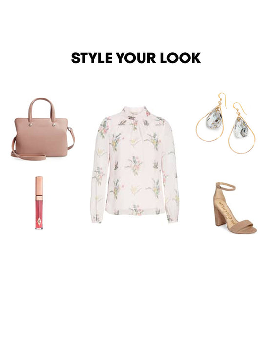 Woman Outfit Fashion Ensemble featuring clear Swarovski crystal earrings, floral top, brown shoes and nude purse
