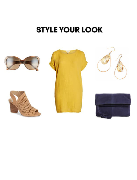 Woman Outfit Fashion Ensemble featuring champagne nude gold dangle Swarovski Crystal earrings, yellow dress, shoes and purse