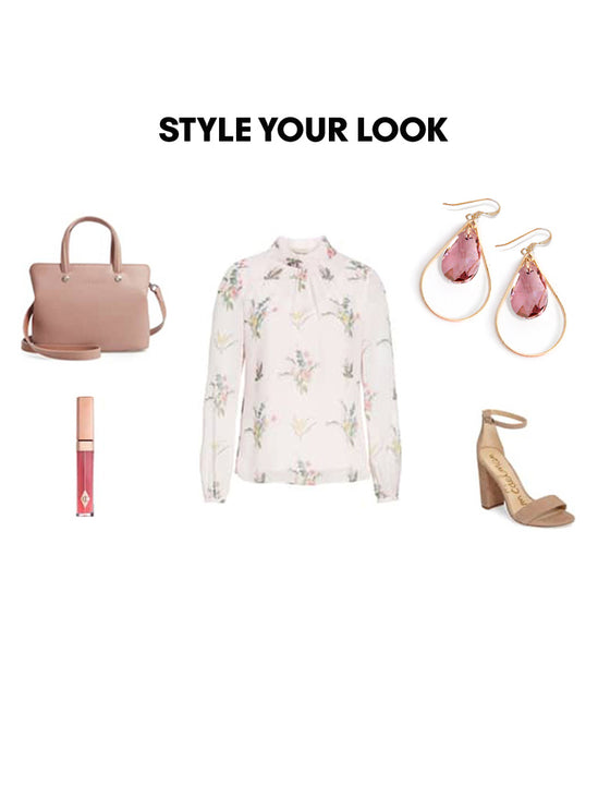 Woman Outfit Fashion Ensemble featuring pink rose gold dangle Swarovski Crystal earrings, floral top, brown shoes and nude purse