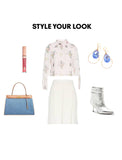 Woman Outfit Fashion Ensemble featuring Sake Blue gold dangle Swarovski Crystal earrings, floral top, silver shoes and blue purse