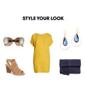 Woman Outfit Fashion Ensemble featuring purple Vitrail Light gold dangle Swarovski Crystal earrings, yellow dress, brown shoes and blue purse