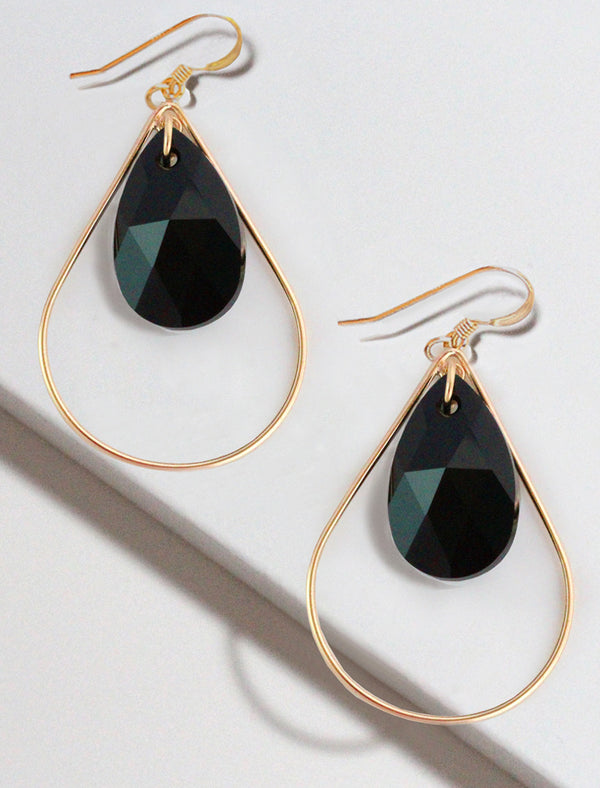 SELFIE SWAROVSKI CRYSTAL EARRINGS | BLACK CAVIAR