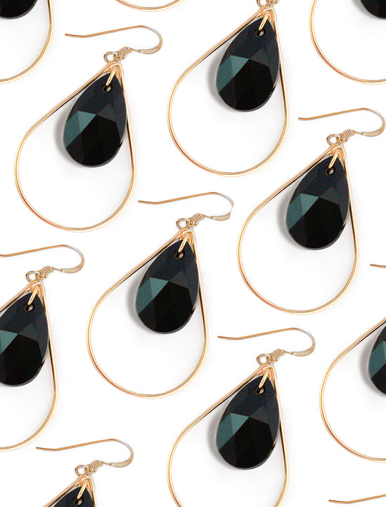 SELFIE 14K Gold Swarovski Crystal Earrings In Black Jet by SONIA HOU Jewelry