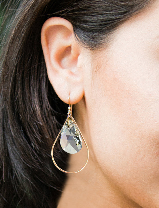 Female Model Wearing Our SELFIE 14K Gold Swarovski Crystal Earrings In Clear by SONIA HOU Jewelry