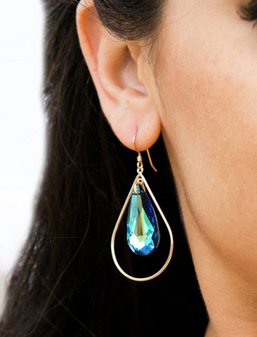 SELFIE SWAROVSKI CRYSTAL EARRINGS | MERMAID BLUE