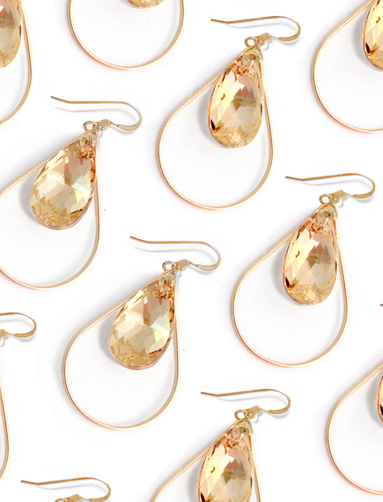 SELFIE 14K Gold Swarovski Crystal Earrings in Champagne Nude by SONIA HOU Jewelry