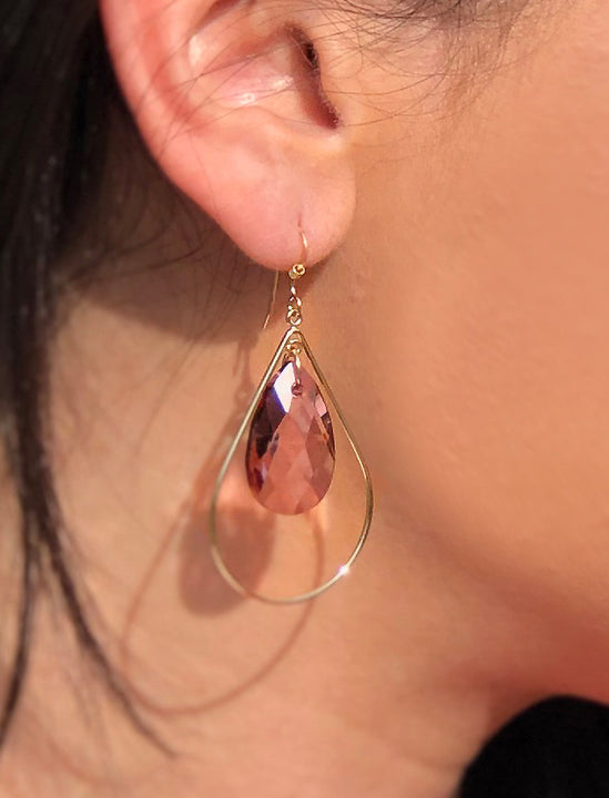 Female model wearing SELFIE 14K Gold Swarovski Crystal Earrings in Pink Rose by SONIA HOU Jewelry