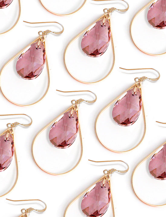 SELFIE 14K Gold Swarovski Crystal Earrings in Pink Rose by SONIA HOU Jewelry