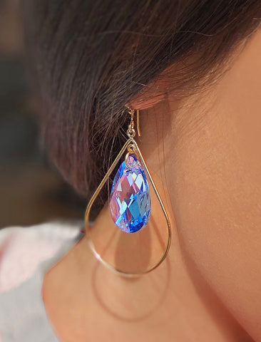 SELFIE SWAROVSKI CRYSTAL EARRINGS | SAKE BLUE