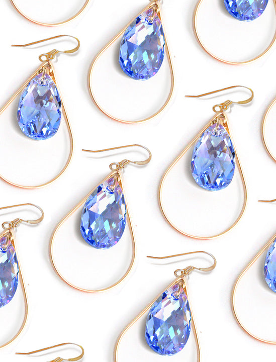 SELFIE 14K Gold Swarovski Crystal Earrings In Sake Blue by SONIA HOU Jewelry