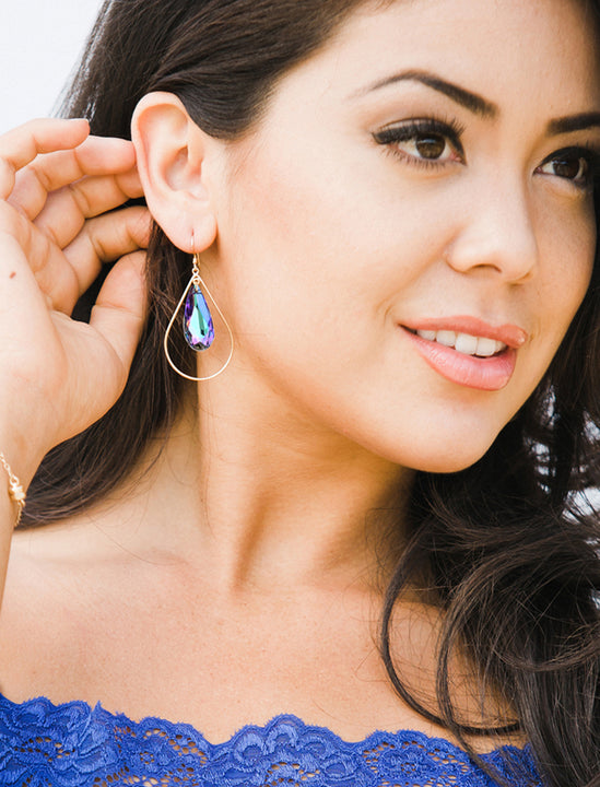 Girl Model Wearing SELFIE 14K Gold Swarovski Crystal Earrings In Purple Vitrail by SONIA HOU Jewelry
