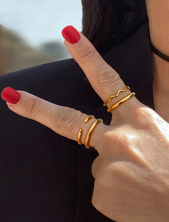 Female model wearing Thin Noodle Ring in 18K Rose Gold Vermeil  by Sonia Hou Jewelry