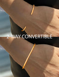 Female model wearing Success 2 Way 18K Rose Gold Vermeil Thin Cuff Bangle Bracelet by Sonia Hou Jewelry