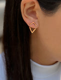 Female Model Wearing TRILL 2-Way Convertible 18K Vermeil Rose Gold Wishbone Earring Jackets by SONIA HOU Jewelry