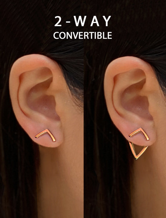 Female Model Wearing TRILL 2-Way Convertible 18K Vermeil Rose Gold Ear Jackets by SONIA HOU Jewelry