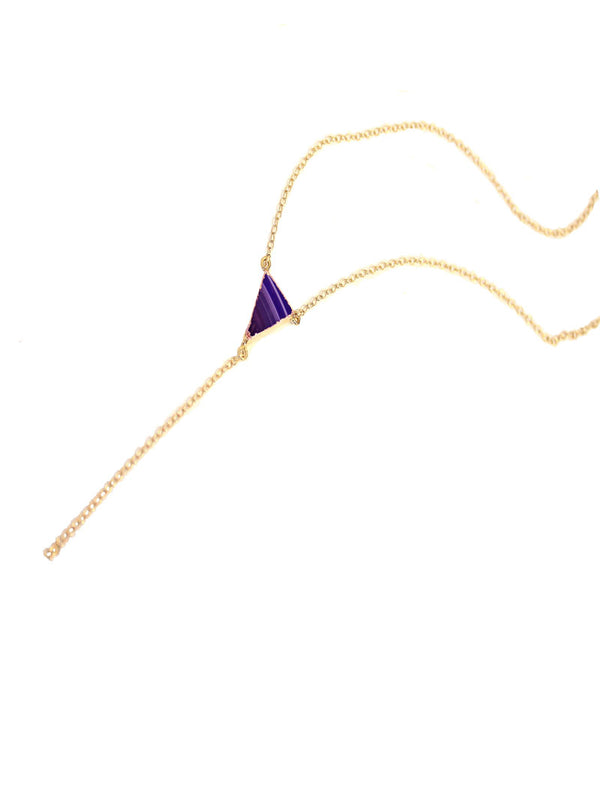 UNICORN 14K GOLD Y NECKLACE IN PLEASING PURPLE AGATE GEMSTONE