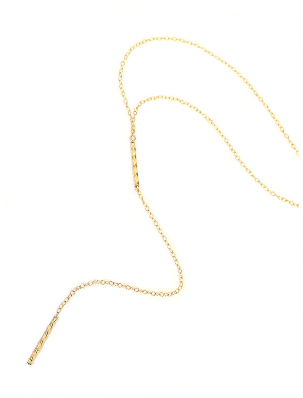 Y ME? - Gold Lariat Y Necklace In 14K Gold Filled Chain - Perfect For Necklace Layering.
