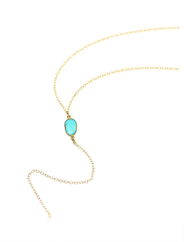 14K GOLD Y NECKLACE IN TURQUOISE COLOR GEMSTONE