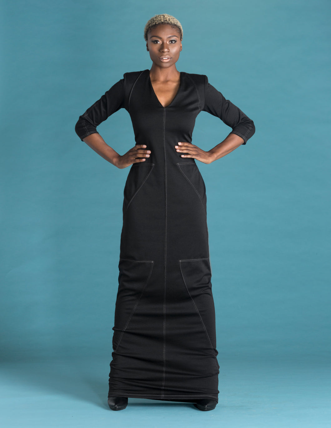 Flow by Tara Davis Black Matte Top Stitch Maxi Knit Dress - Flow by Tara Davis
