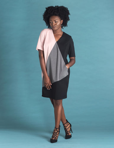 Flow by Tara Davis Suiting Twill Tri-Colorblock Shift Dress - Flow by Tara Davis