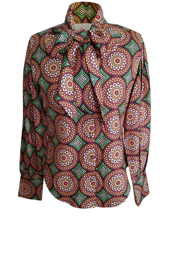 Flow by Tara Davis medallion print bow blouse with long sleeves and button front
