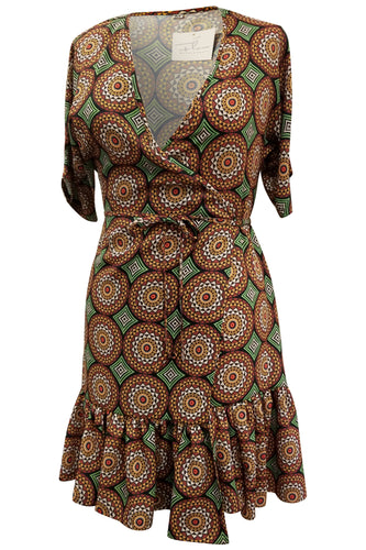 Flow by Tara Davis Medallion Print Short Ruffle Wrap Dress