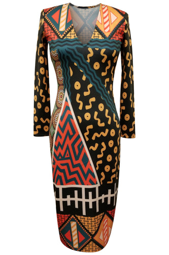 Flow by Tara Davis Tribal Print V-neck Fitted Scuba Knit Dress
