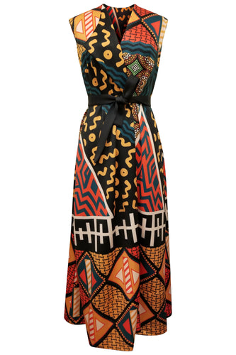 Flow by Tara Davis Tribal Print Scuba Knit Duster Wrap Dress
