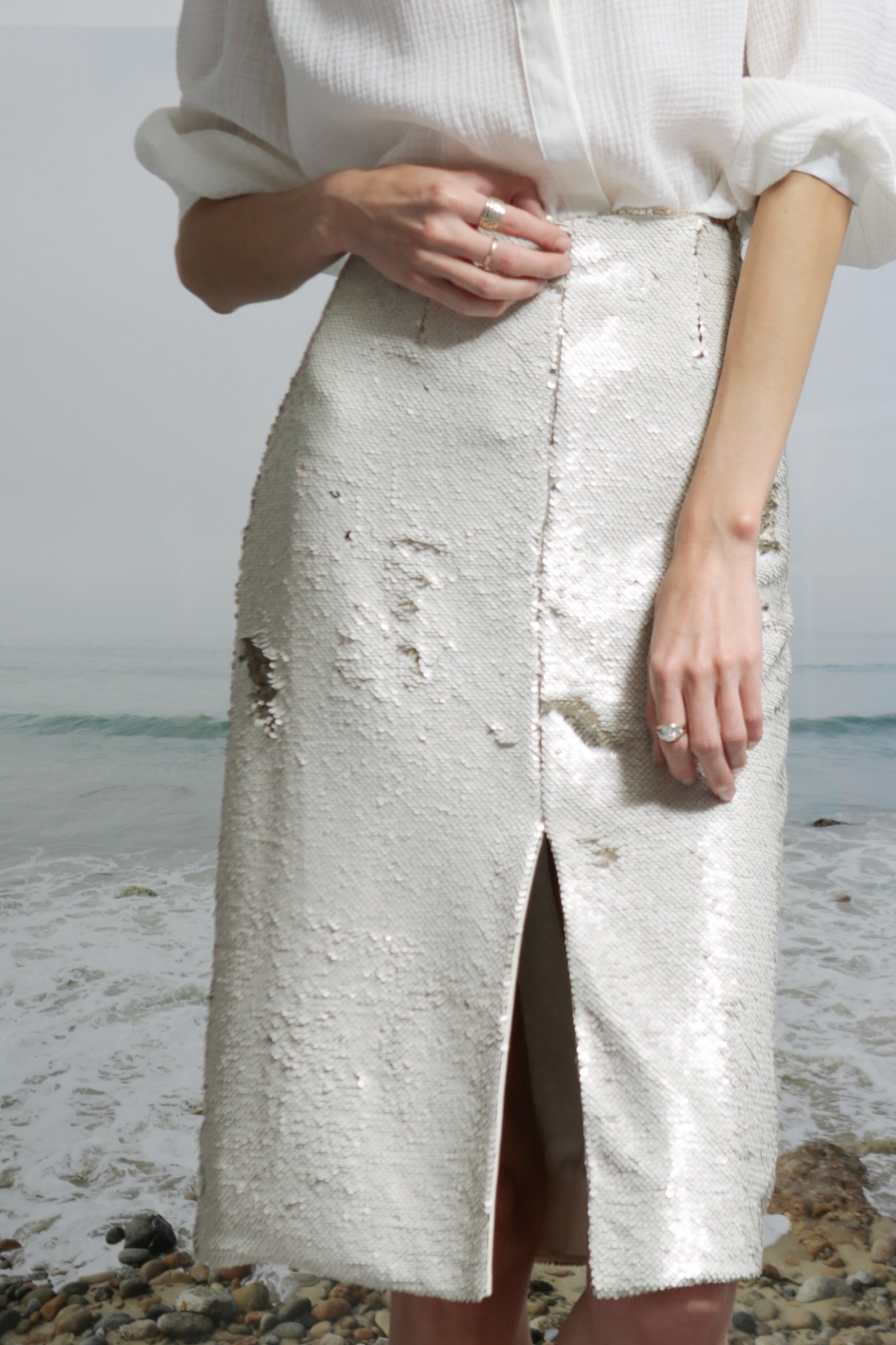 Model wears size 2 EMBER SKIRT - SNOW by Heidi Merrick made in Downtown Los Angeles