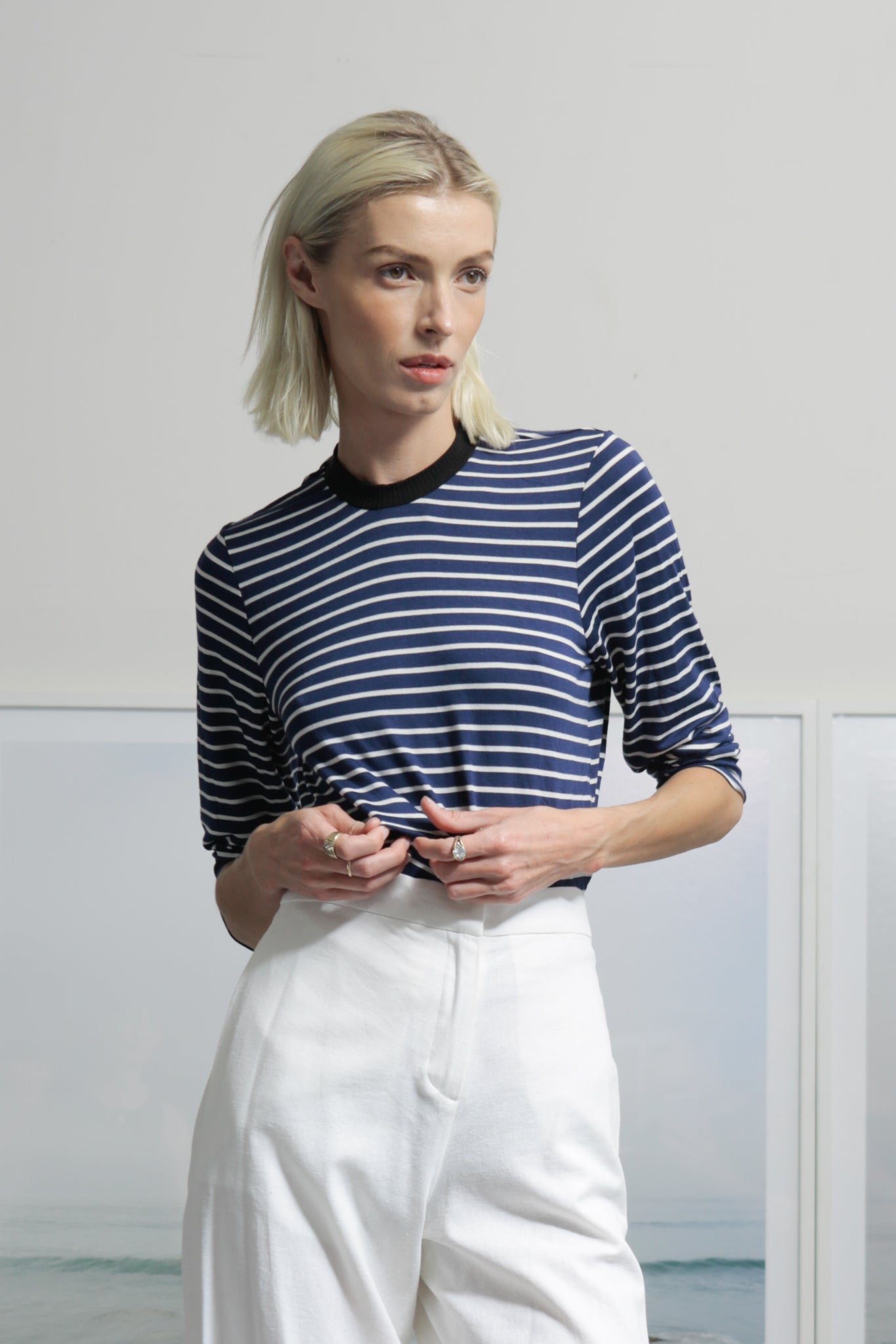 DRAKE TOP - NAVY STRIPE