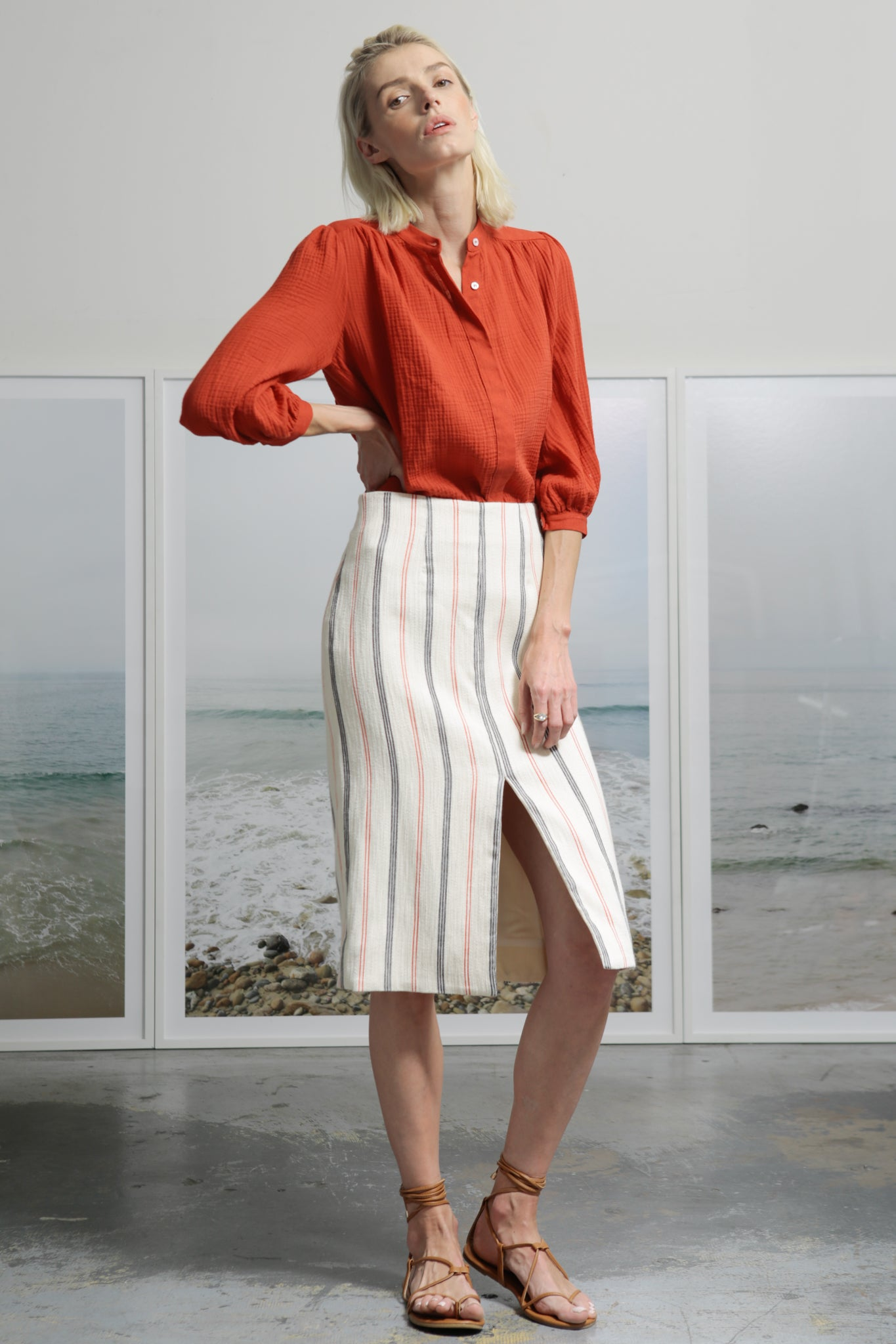 Model wears size 4 EMBER SKIRT - IVORY by Heidi Merrick made in Downtown Los Angeles