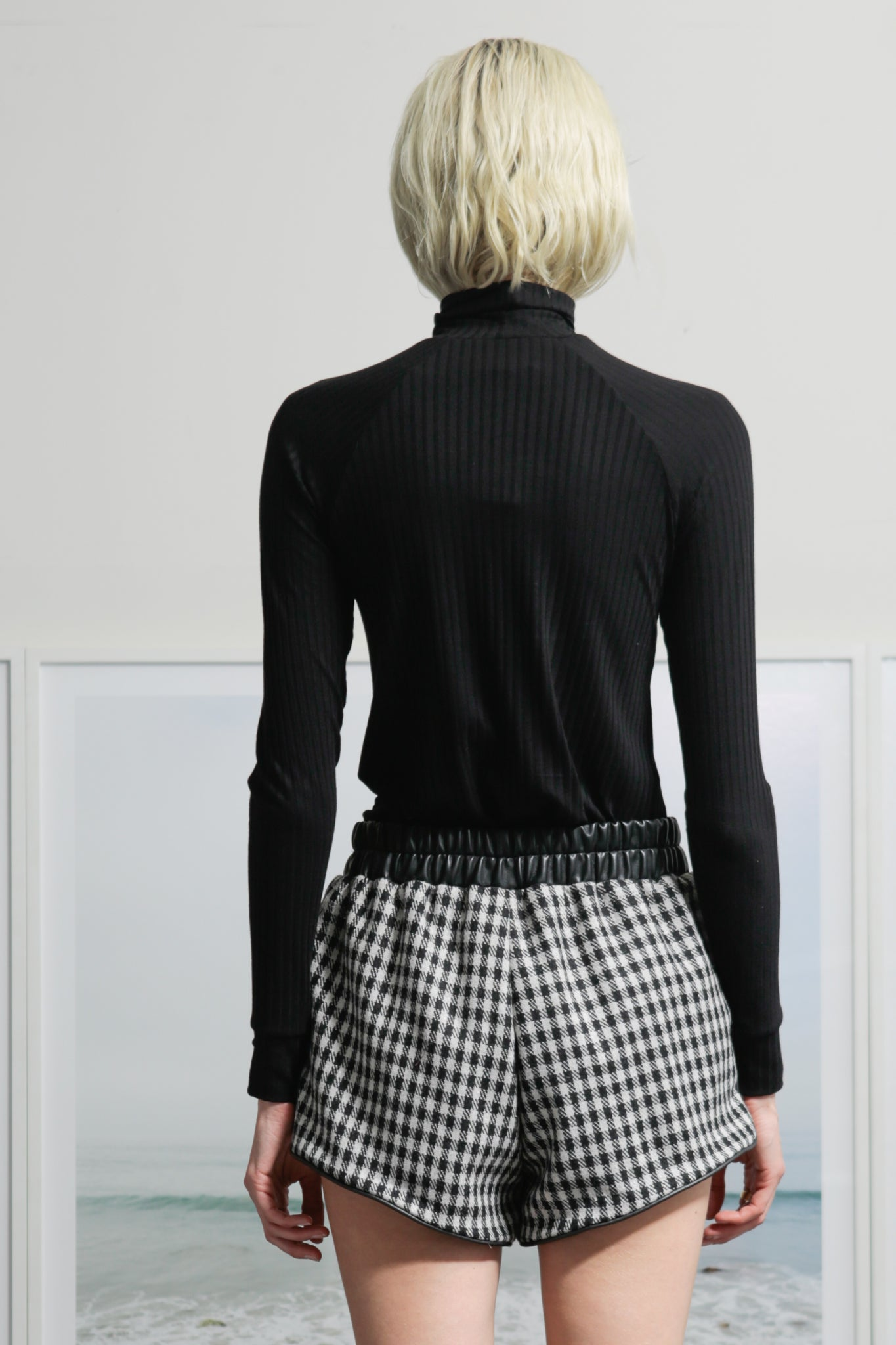 Model wears X-small Azalea Short - CHECK by Heidi Merrick (Back)