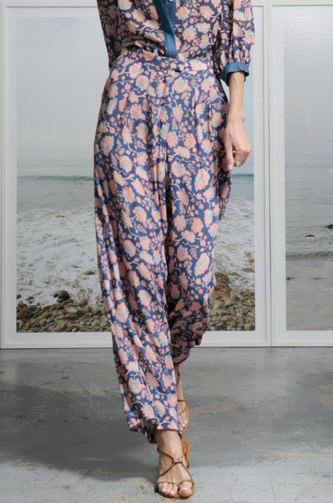 Model wears size 4 FINCA TROUSER - BLUE DAHLIA by Heidi Merrick made in Downtown Los Angeles