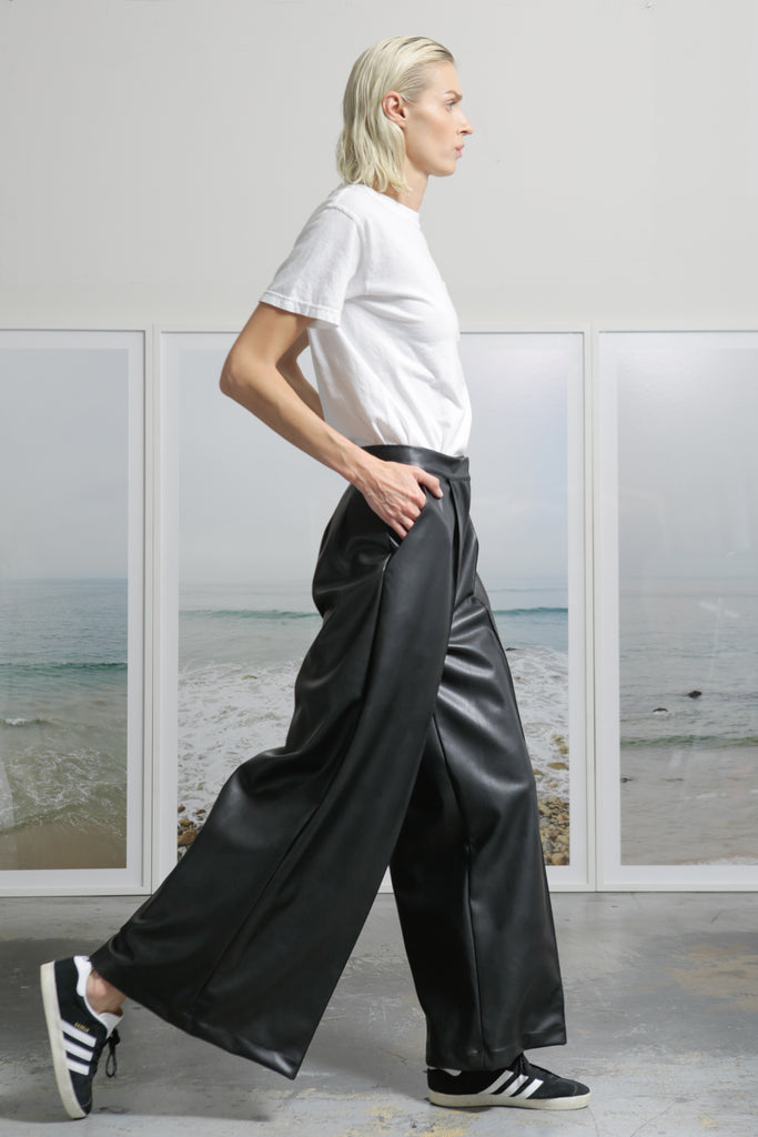 Model wears size 4 HEMINGWAY TROUSER - VEGAN LEATHER by Heidi Merrick made in Downtown Los Angeles