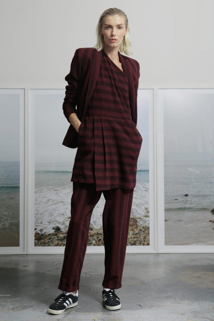 Model wears size 2 BETTE TROUSER - BURGUNDY STRIPE by Heidi Merrick (Overview)