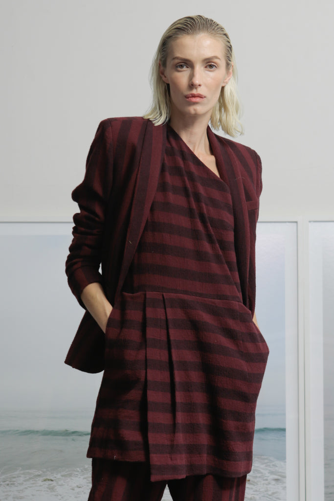 Model wears size 2 ILE BLAZER - BURGUNDY STRIPE by Heidi Merrick made in Downtown Los Angeles