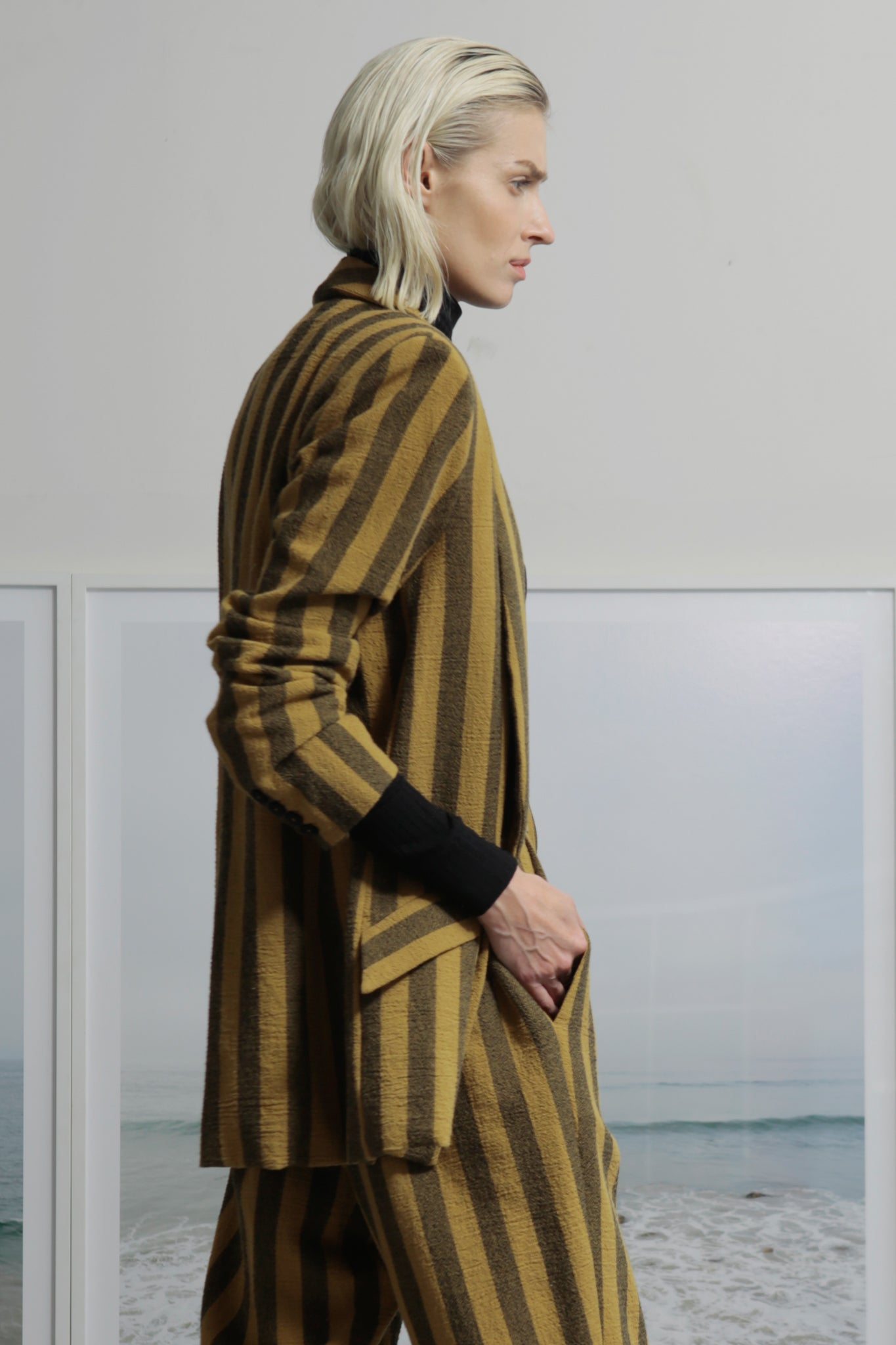 Model wears size 2 ZELDA BLAZER - GOLD STRIPE by Heidi Merrick made in Downtown Los Angeles