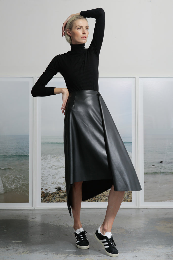 Model wears size Small JOSEPHINE SKIRT - VEGAN LEATHER by Heidi Merrick made in Downtown Los Angeles