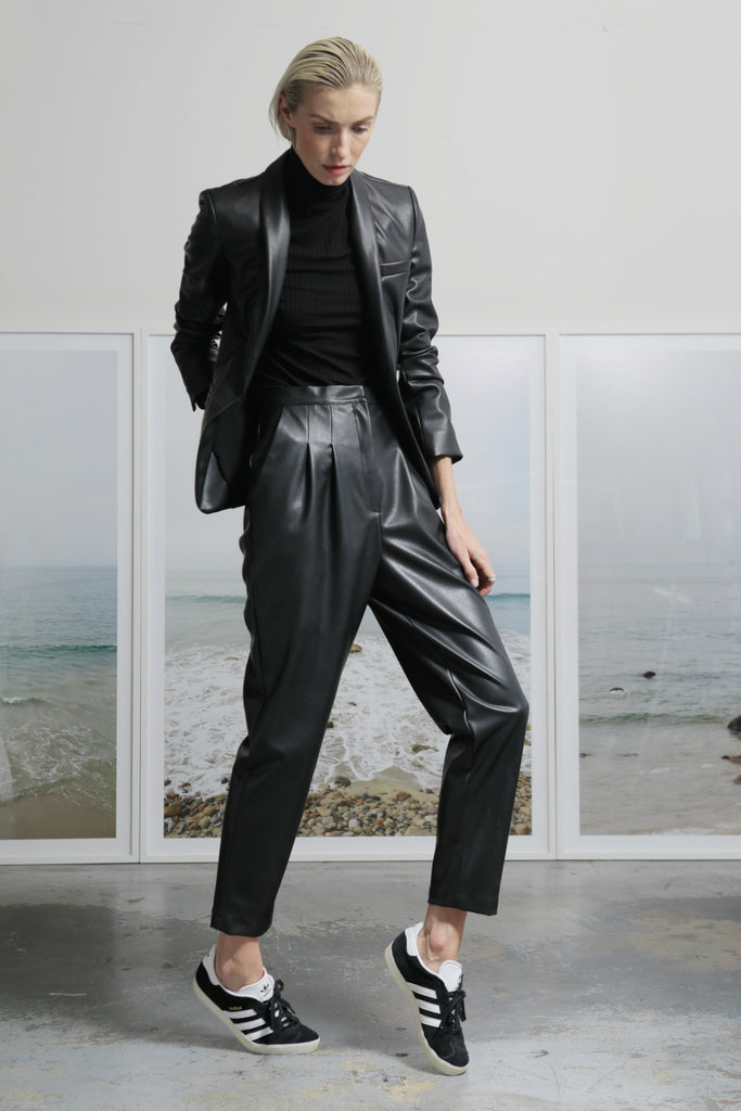 Model wears Size 2 BETTE TROUSER - VEGAN LEATHER by Heidi Merrick (Front)