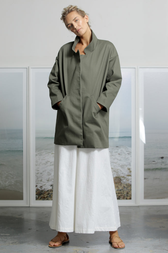 Model wears size Small STONE COAT - MILITARE by Heidi Merrick made in Downtown Los Angeles