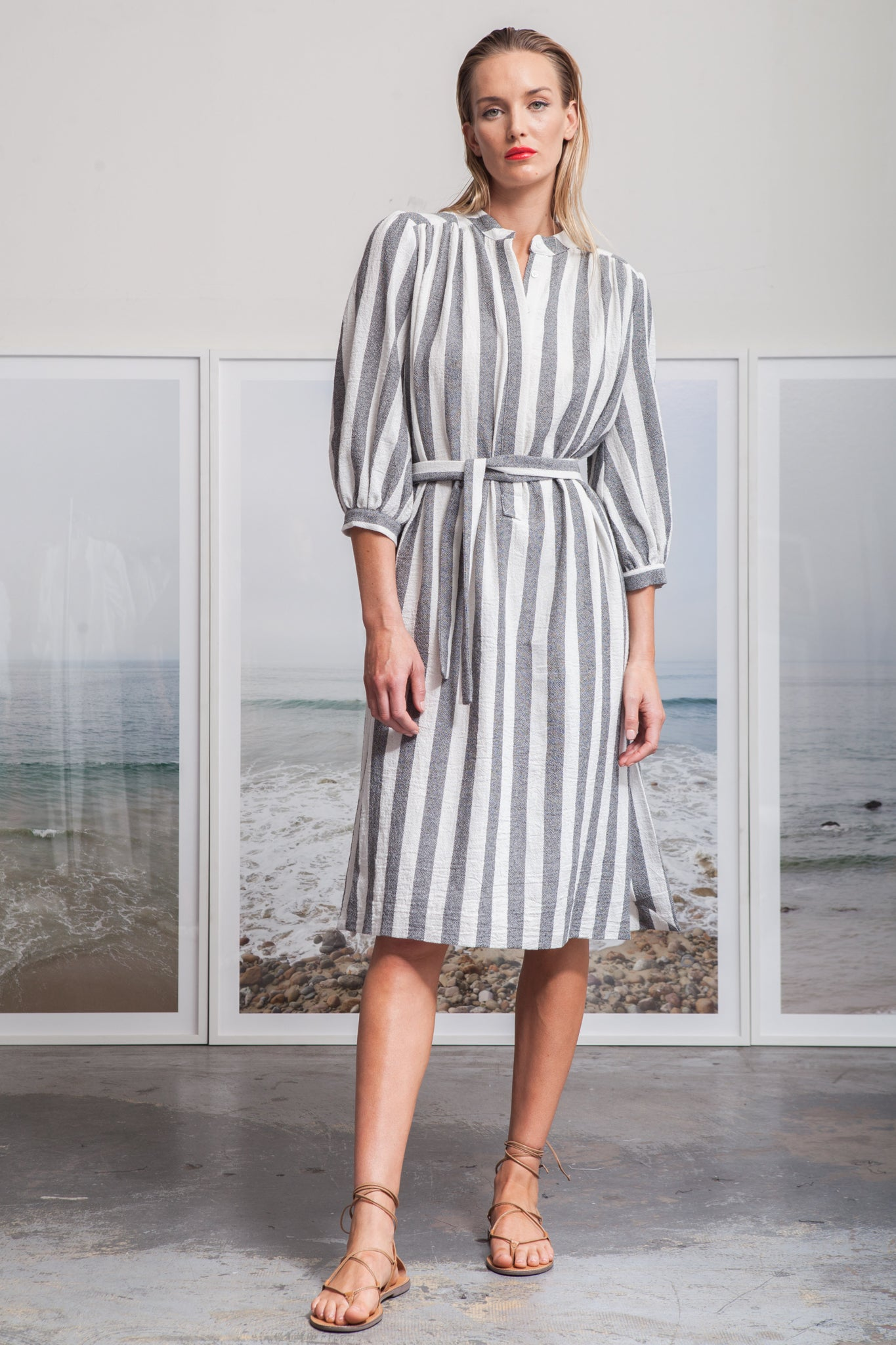 Model wears size Small MARISH DRESS - STRIPE by Heidi Merrick made in Downtown Los Angeles