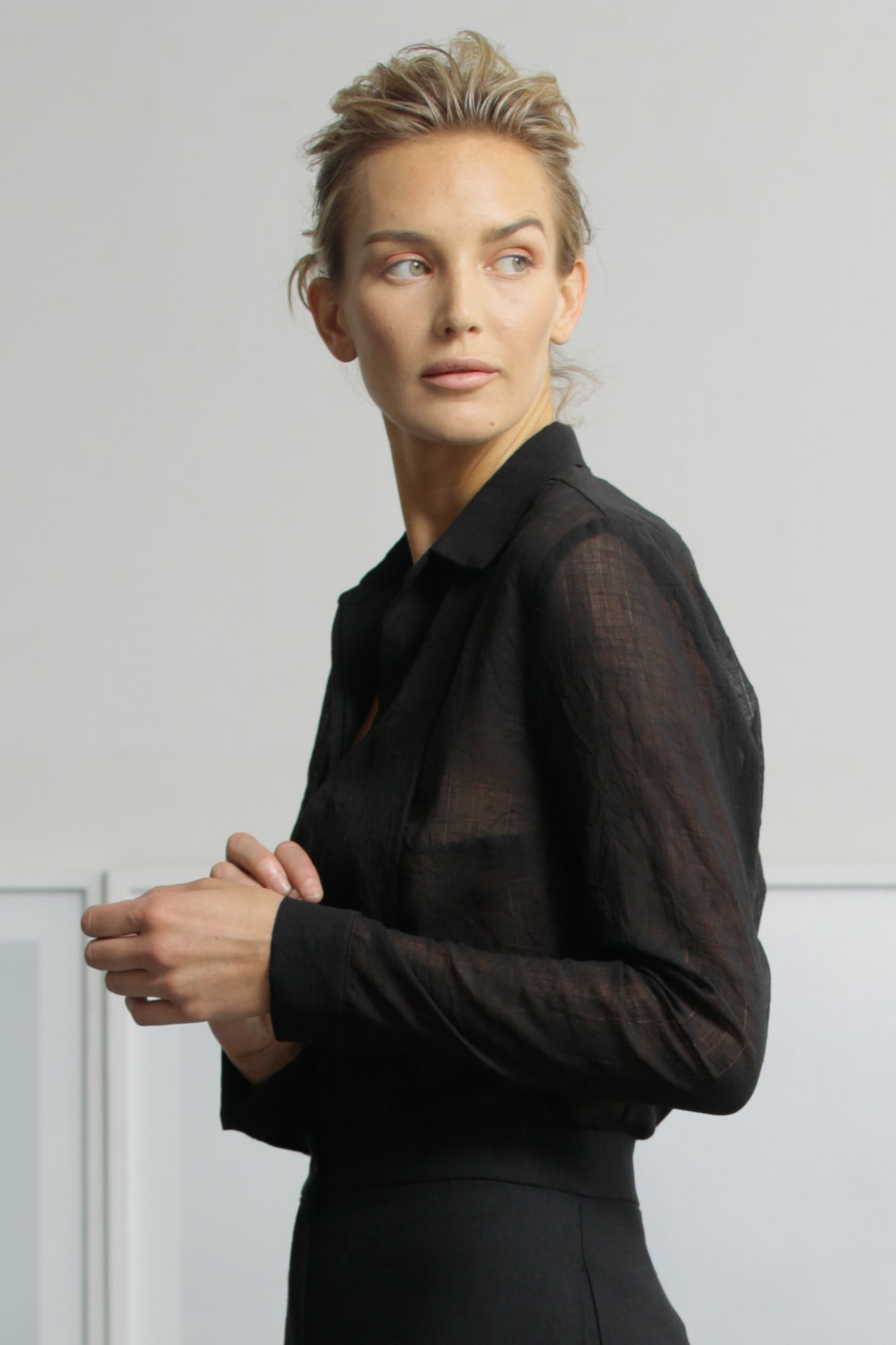 TUX TOP - SHEER BLACK