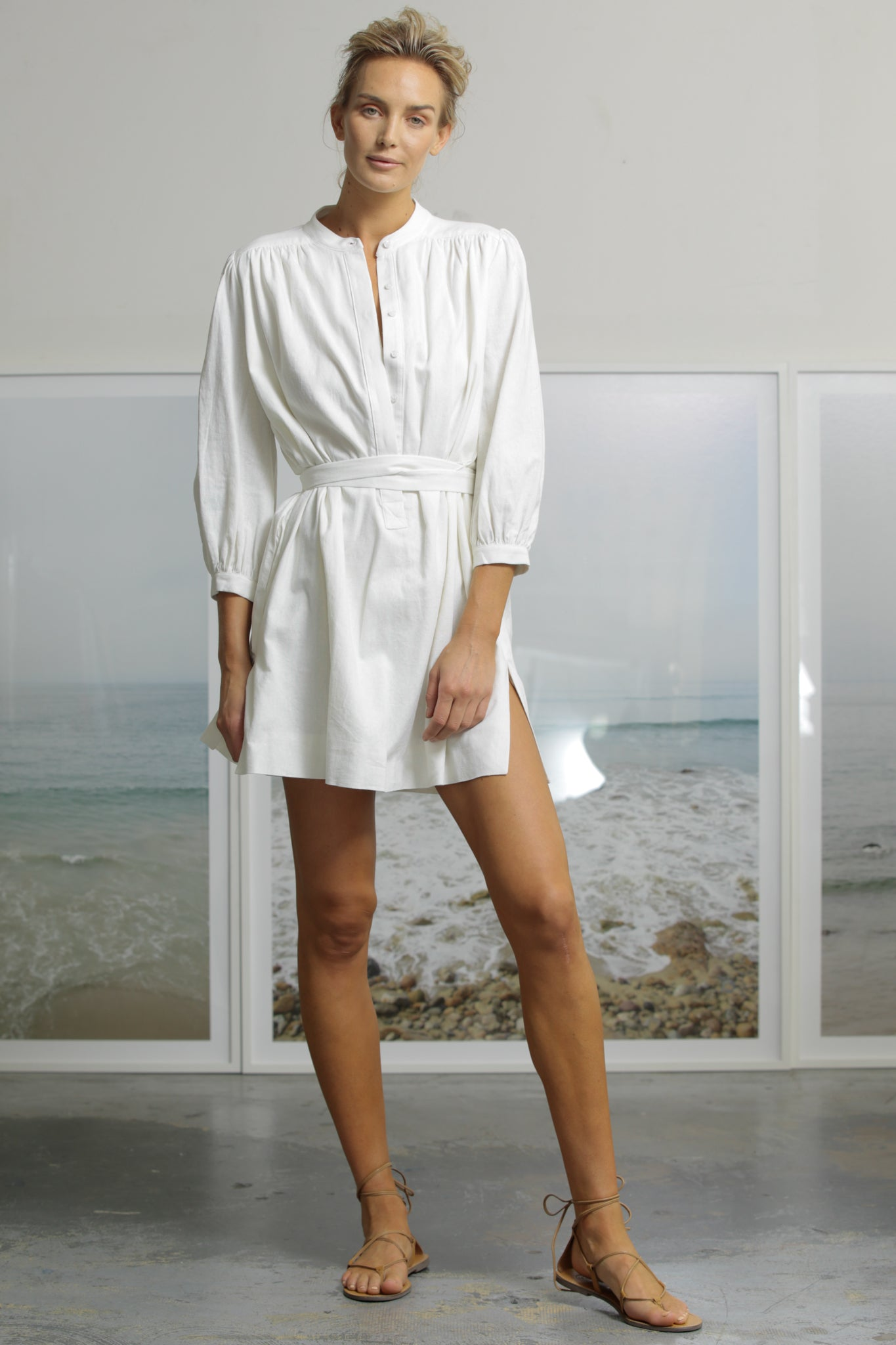 MARISH PETITE DRESS - WHITE LINEN