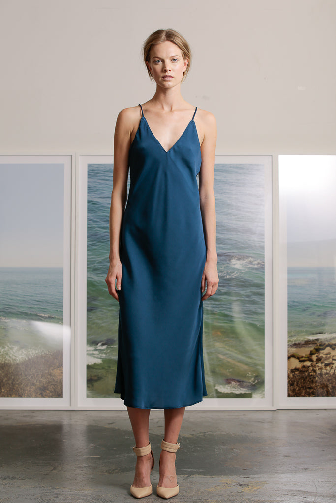 KURT SLIP DRESS - BLUE SILK