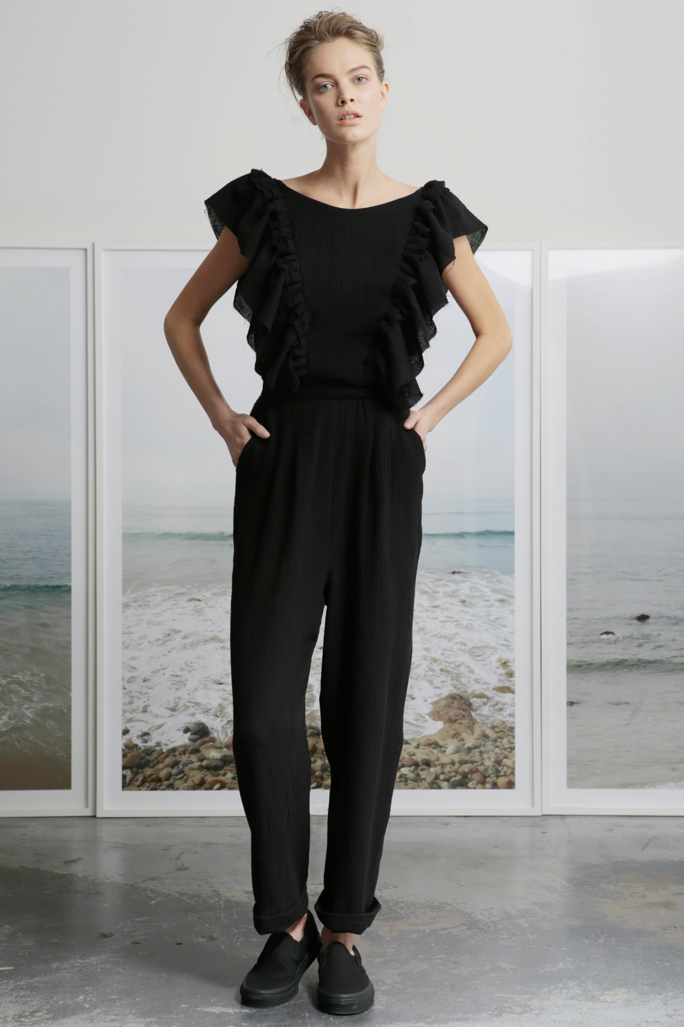 LE PAPILLON JUMPSUIT - BLACK GAUZE